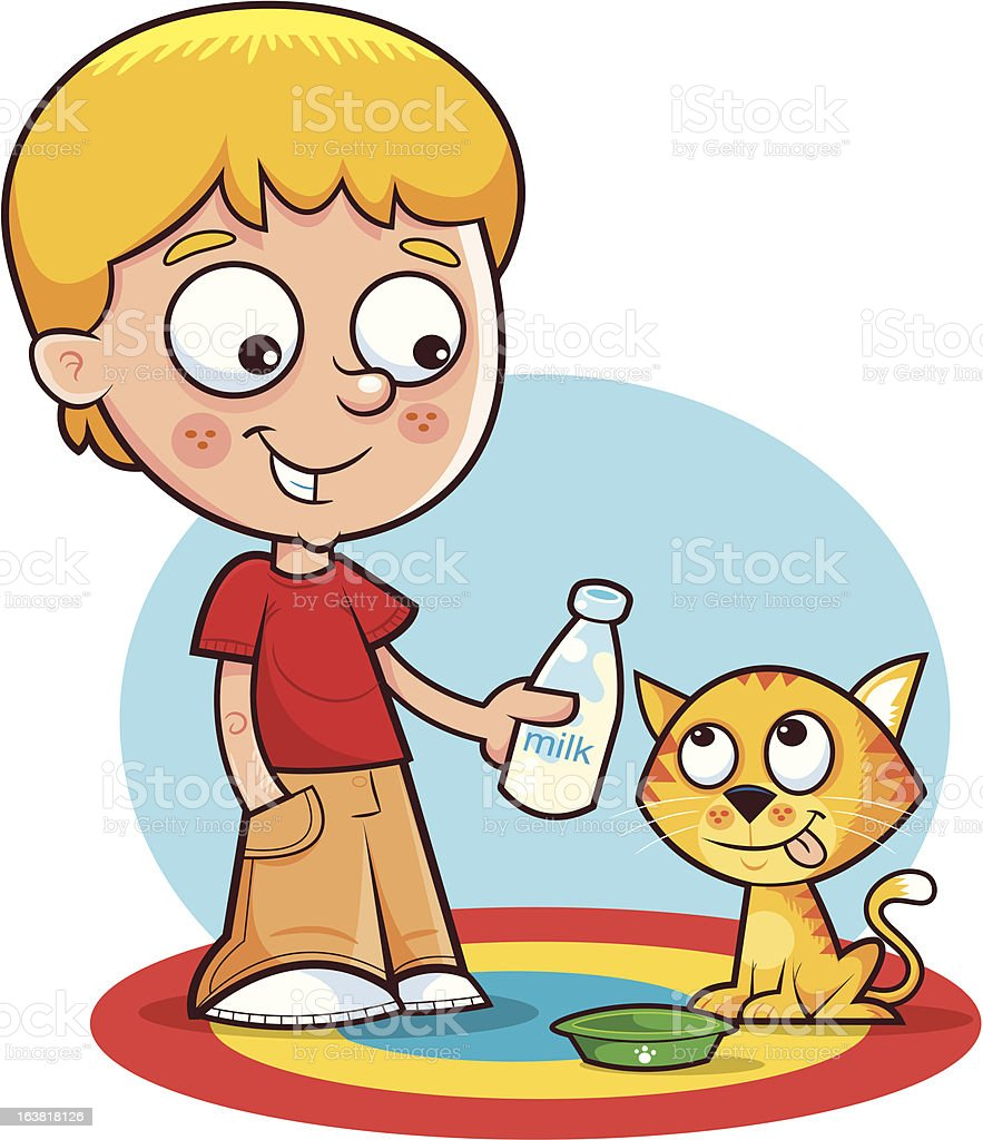 Little boy and his Kitten royalty-free stock vector art