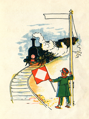 Little boy at railroad track guiding a locomotive Original edition from my own archives Source :