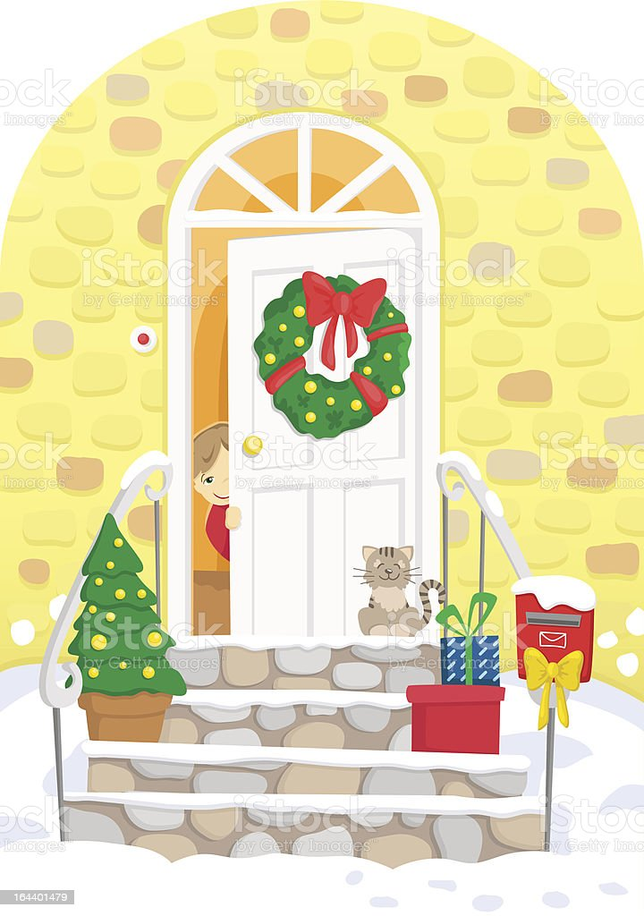 Little boy behind decorated door, presents, Christmas tree. Vector illustration. royalty-free stock vector art