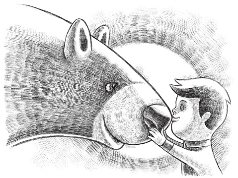 digital painting / raster illustration of little boy communicating with bear