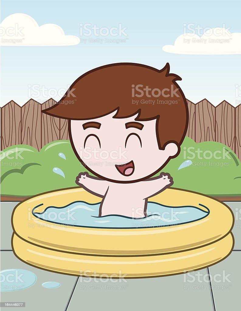 Little Boy in Pool - vector illustration royalty-free stock vector art