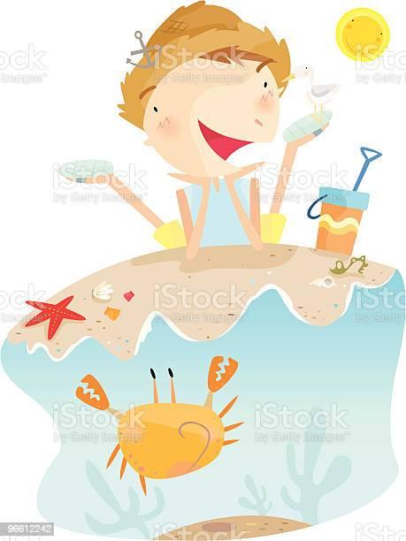 Little Boy Lying On Beach Near Crab And Sand Toys-vektorgrafik och fler bilder på Avkoppling