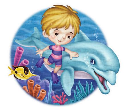 digital painting / raster illustration of little boy meeting dolphin