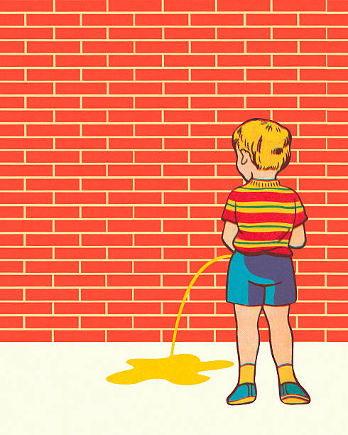 Boy peeing vector