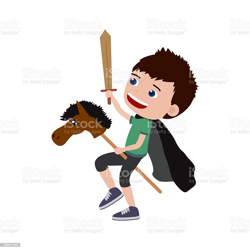 Little boy playing knight with hobby horse and a sword. vector art illustration