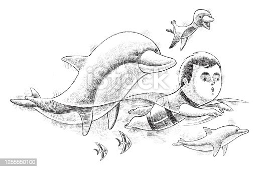 digital painting / raster illustration of little boy swimming with dolphins