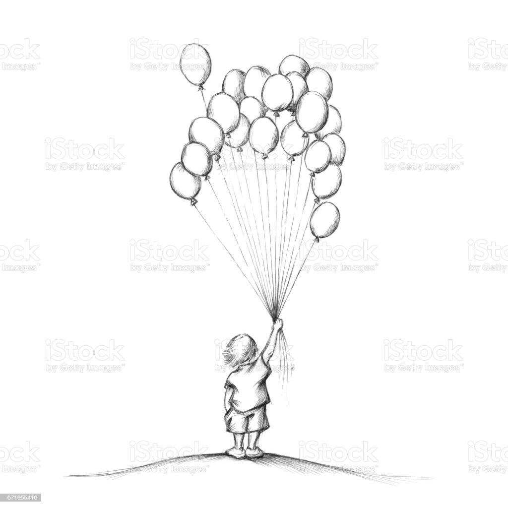 Little boy with balloons – Vektorgrafik
