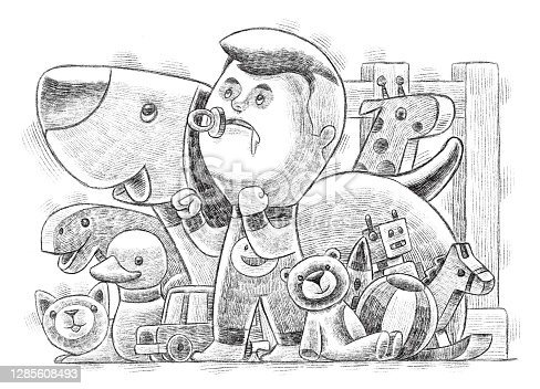 little boy with pets and toys sketch