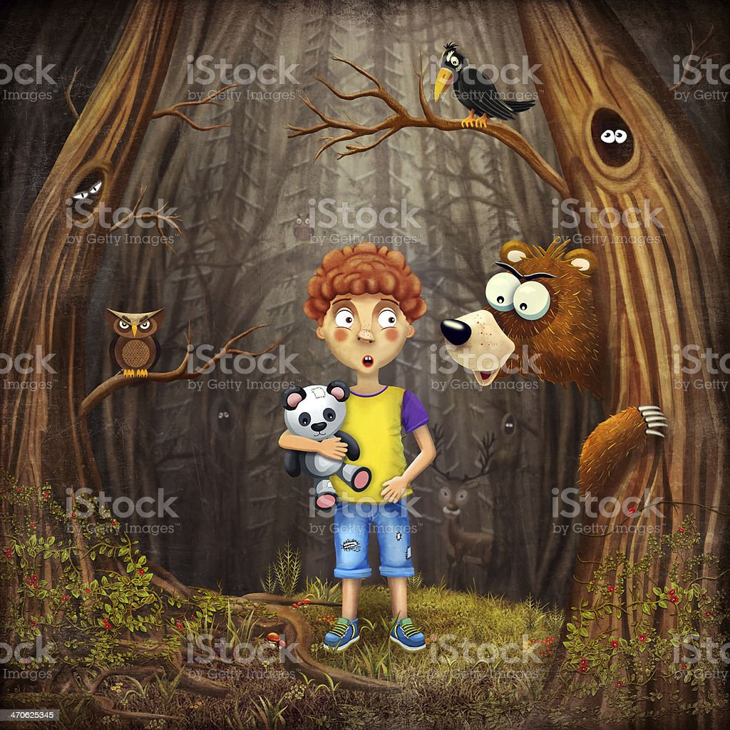 Little boy with the animals in the wood vector art illustration