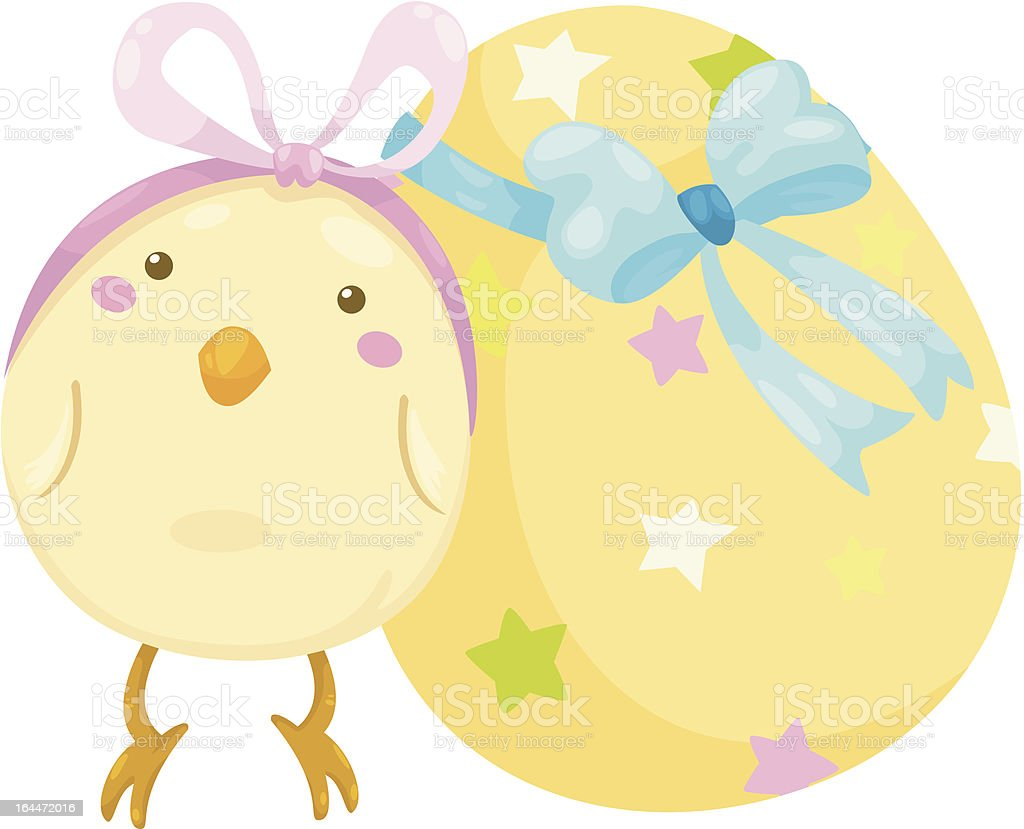 little chick with easter egg vecto royalty-free stock vector art