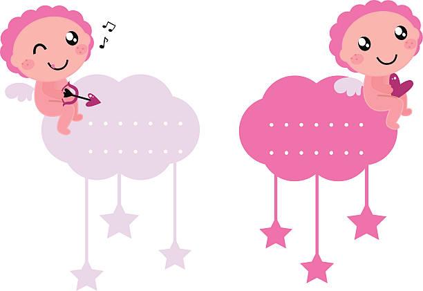illustrazioni stock, clip art, cartoni animati e icone di tendenza di little cupido vuoto tag collezione isolato su bianco - love word