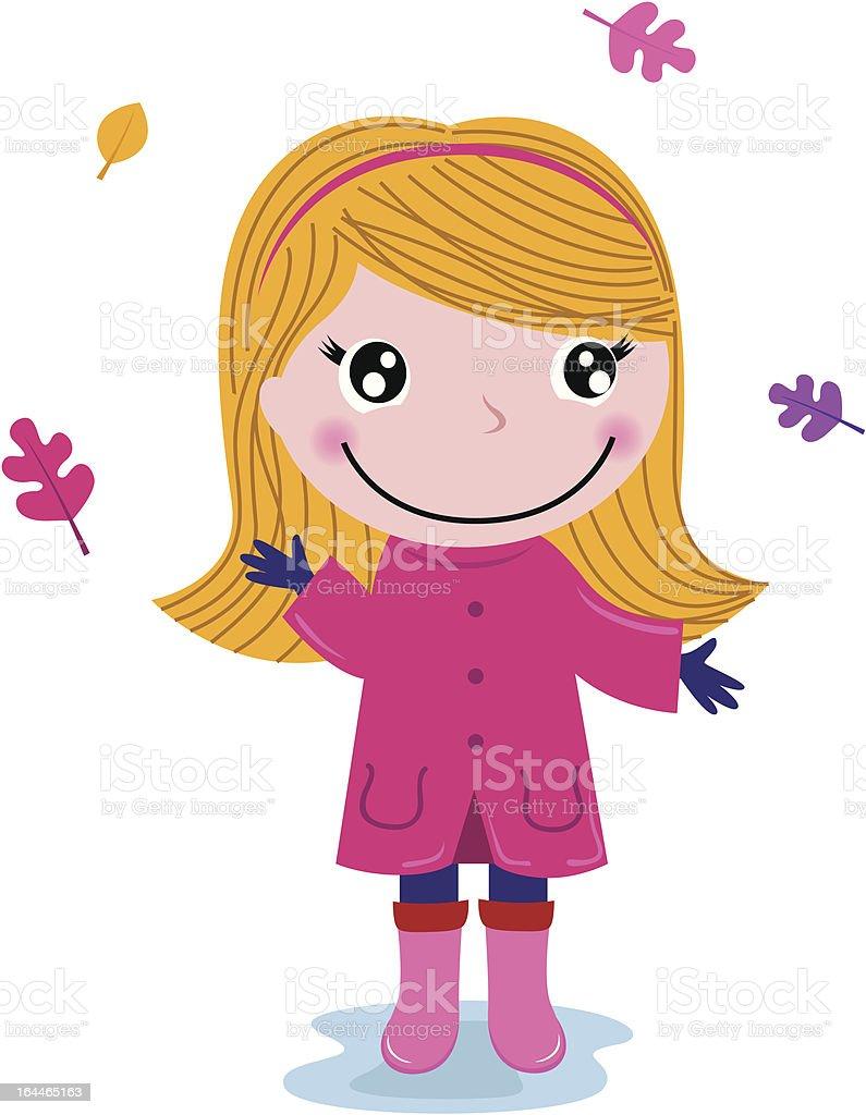 Little cute autumn girl isolated on white royalty-free stock vector art