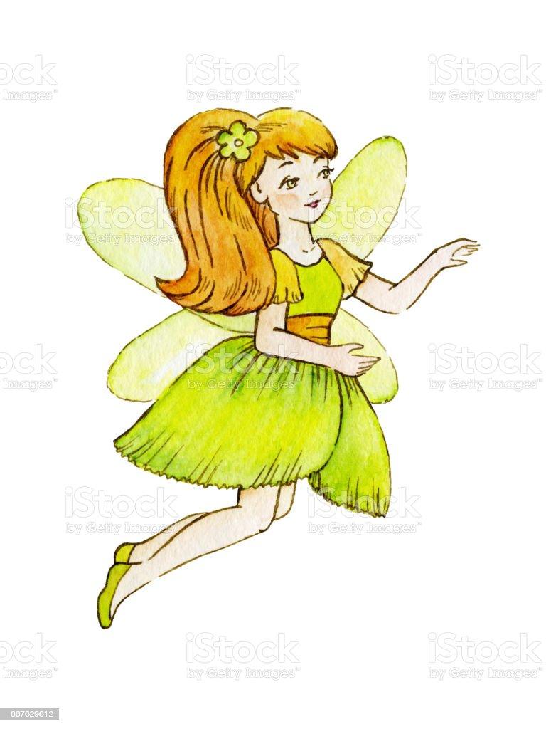 小さなかわいい魔法の妖精水彩イラスト子供のクリップアート - おとぎ話