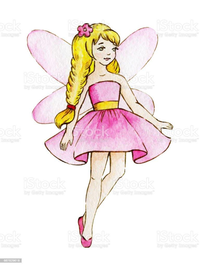 小さなかわいい魔法の妖精水彩イラスト子供のクリップアート おとぎ話