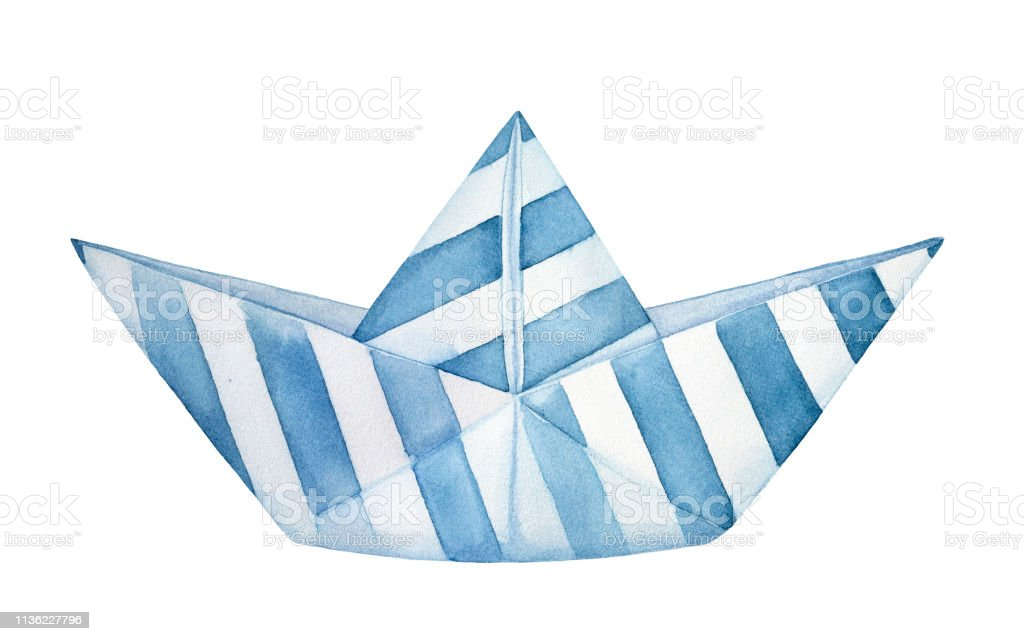 Little Decorative Folded Paper Boat Decorated With Blue