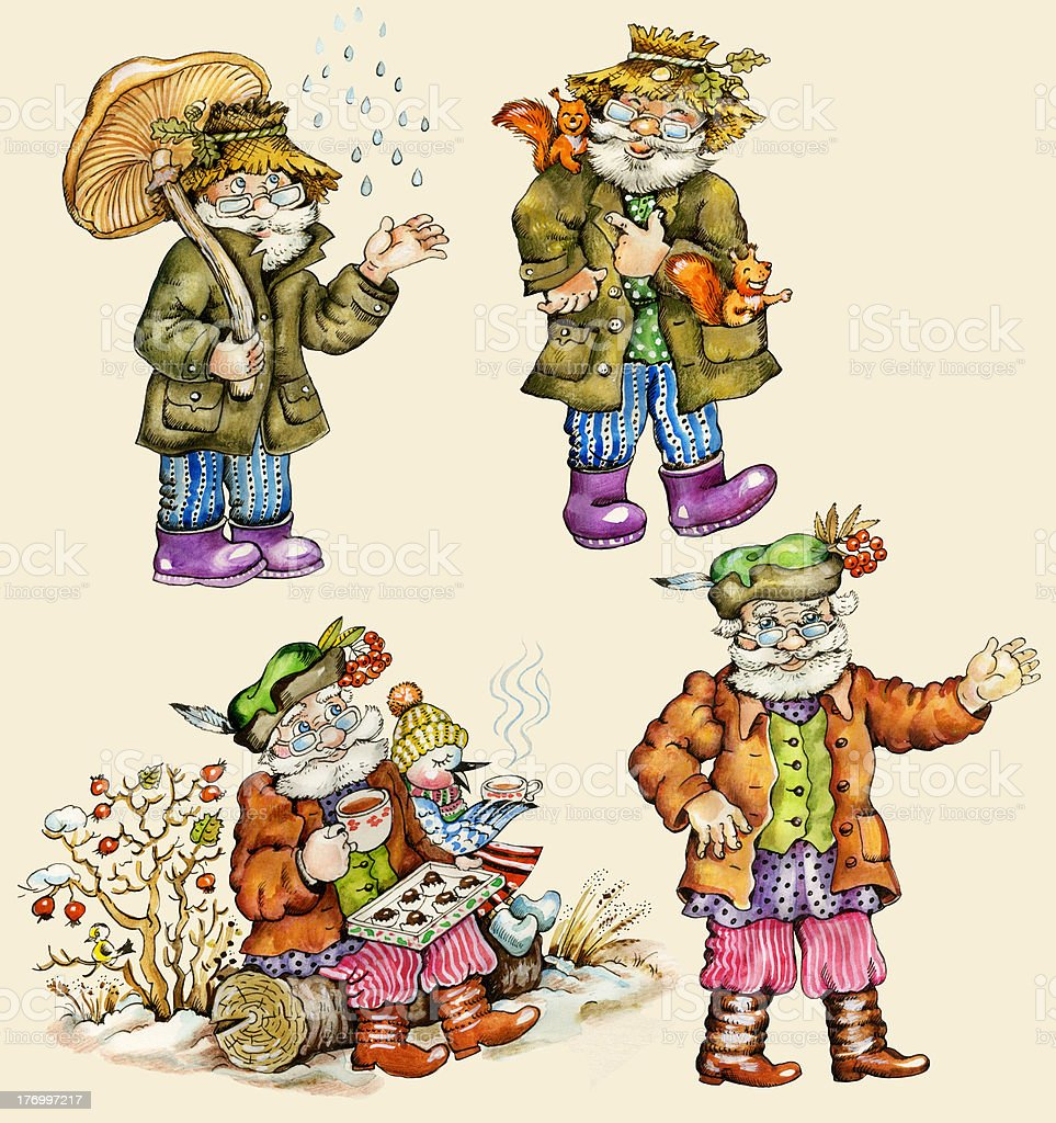 Little funny forest old man characters set royalty-free stock vector art