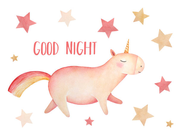 """ilustrações de stock, clip art, desenhos animados e ícones de little funny unicorn flying in the sky with pastel colored stars and """"good night"""" wishes inscription. poster design, greeting card, printable decor. - unicorn bed"""