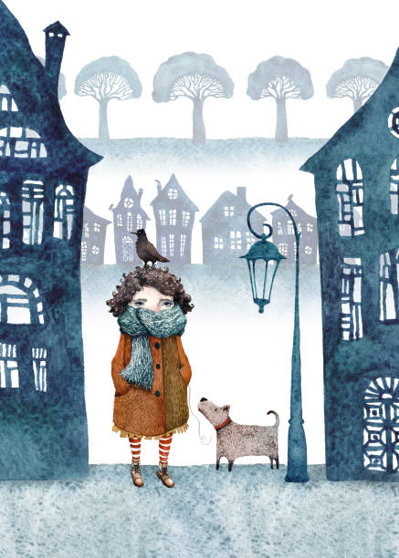 Little girl and her dog walking in a foggy town. Watercolor illustration. vector art illustration