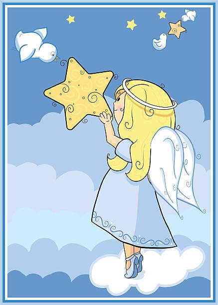kleines mädchen hält eine star angel - schutzengel stock-grafiken, -clipart, -cartoons und -symbole