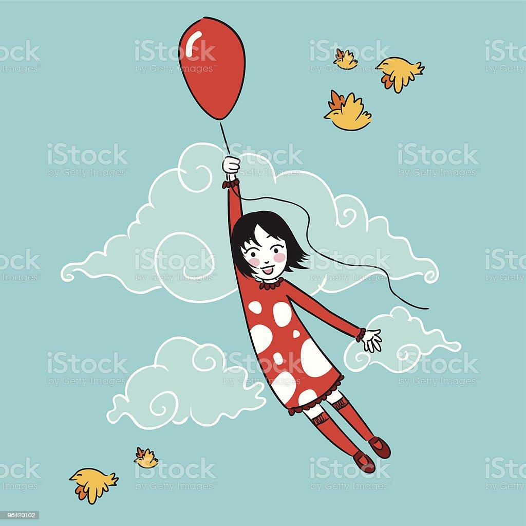 Little girl flying with a balloon vector art illustration
