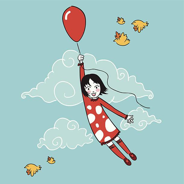 Kleines Mädchen Fliegen mit Ballon – Vektorgrafik