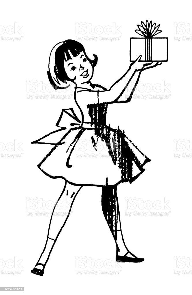 Little Girl Holding Gift royalty-free stock vector art