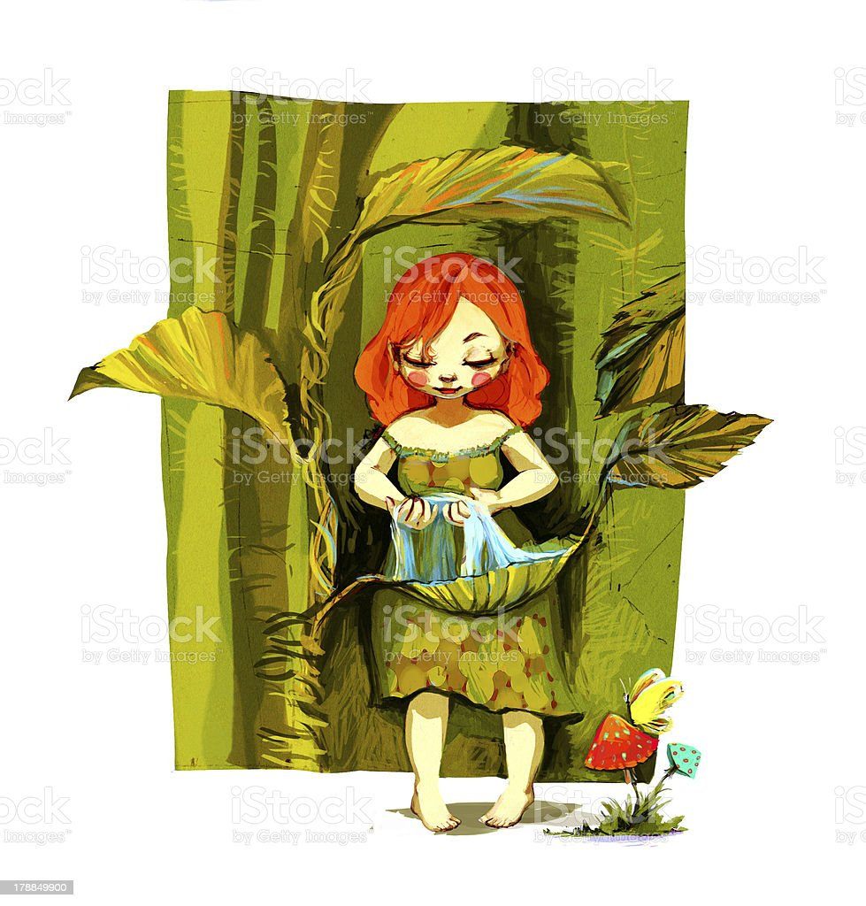Little girl vector art illustration