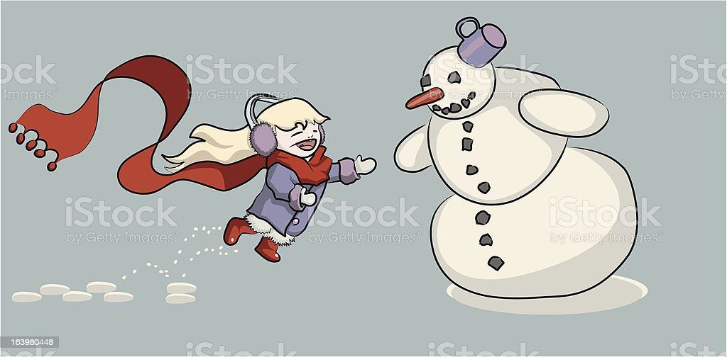 little girl playing with a snowman royalty-free little girl playing with a snowman stock vector art & more images of anthropomorphic smiley face