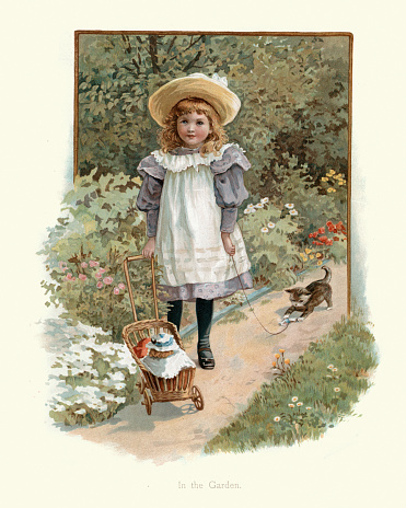 Little girl playing with her doll and kitten in the garden, Victorian