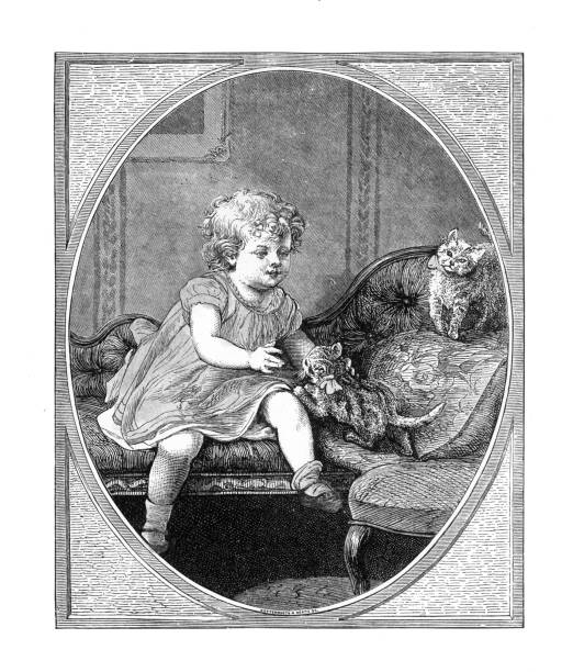 Little girl playing with her kittens on the sofa, American Victorian Engraving, 1882 Very Rare, Beautifully Illustrated Antique Engraving of a Little girl playing with her kittens on the sofa, American Victorian Engraving, 1882. Source: Original edition from my own archives. Copyright has expired on this artwork. Digitally restored. 1880 stock illustrations