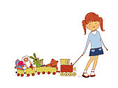 A little girl pulls a toy train with puppets