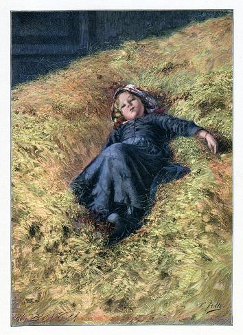 Little girl resting in hay on farm 1897
