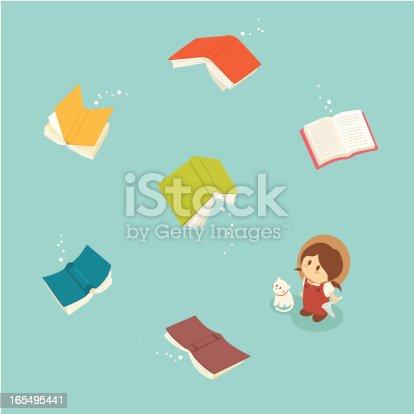 istock Little Girl Series: Magical flying books 165495441