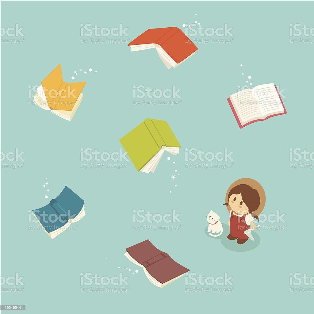Little Girl Series: Magical flying books vector art illustration