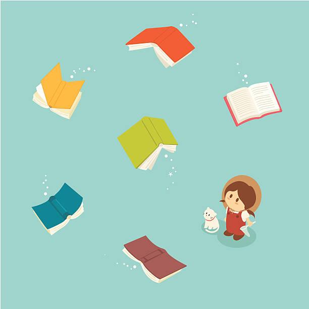 illustrations, cliparts, dessins animés et icônes de petite fille series: livres magiques volant - voler
