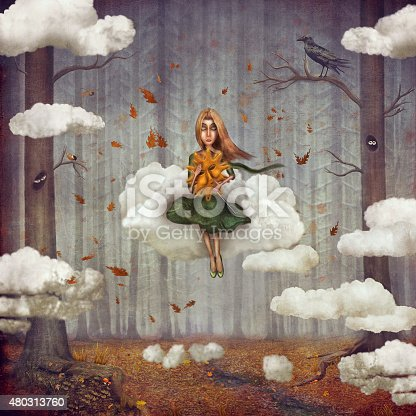 istock Little  girl sits on  cloud  in   autumn forest 480313760