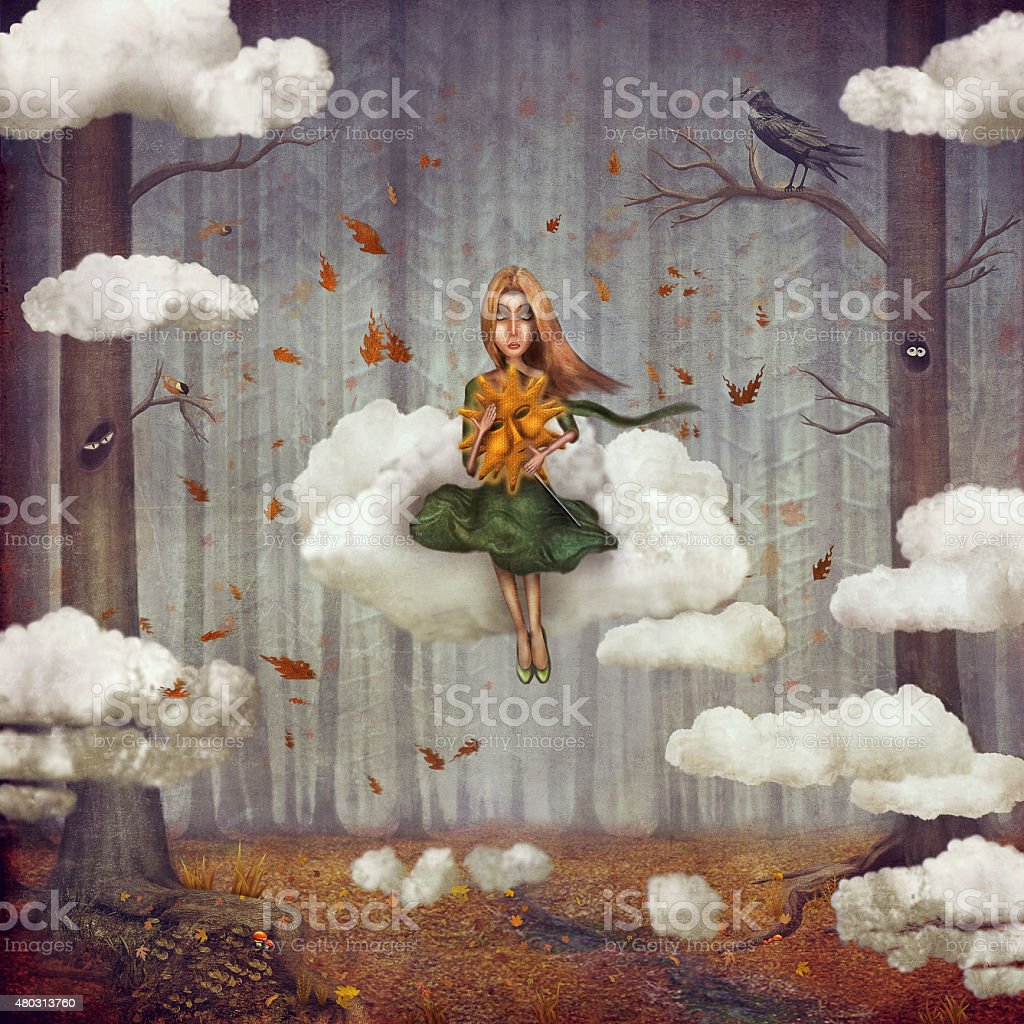 Little  girl sits on  cloud  in   autumn forest vector art illustration