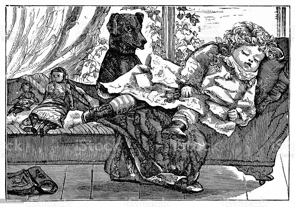 Little Girl Sleeping - Victorian Engraving vector art illustration