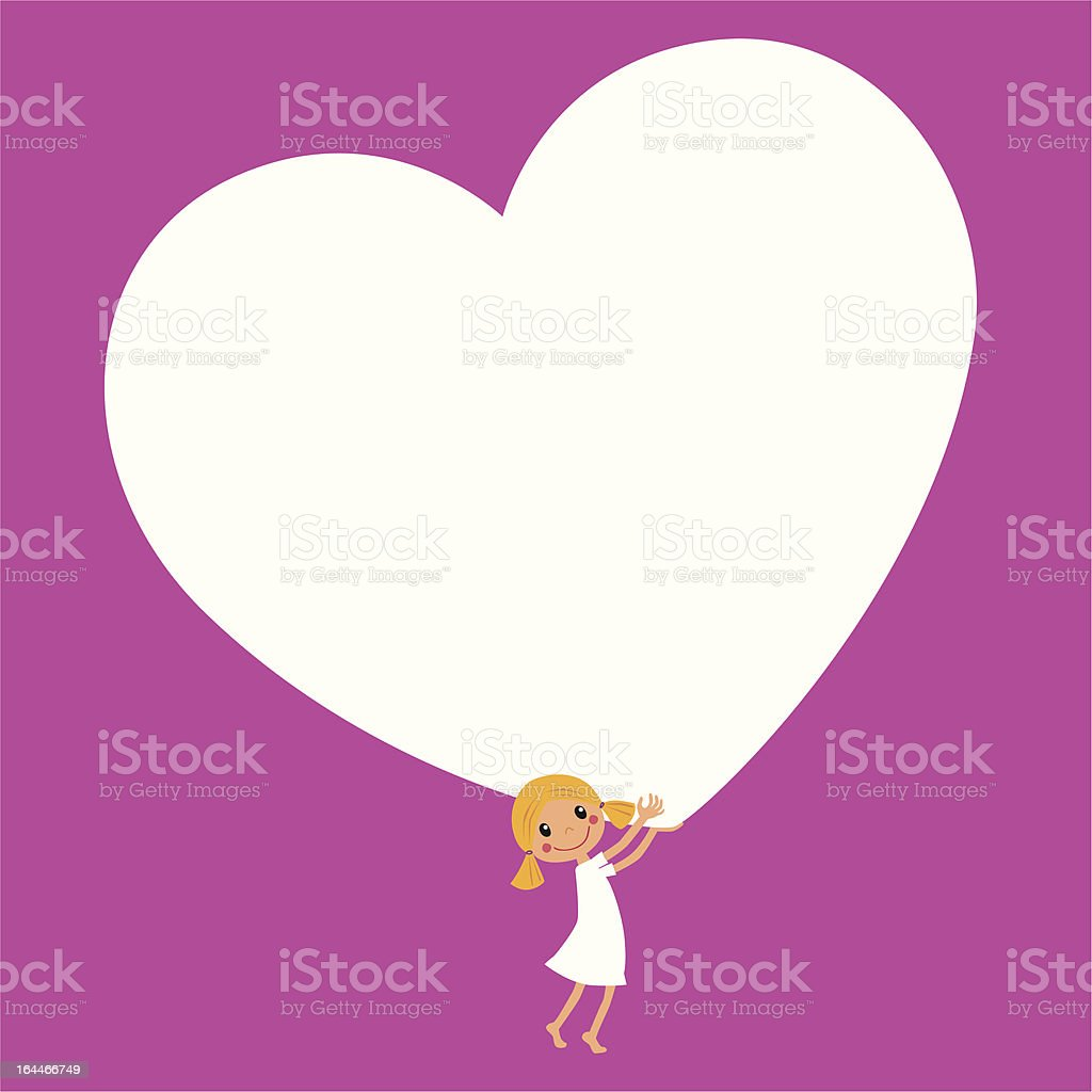 Little Girl with a big Heart vector art illustration