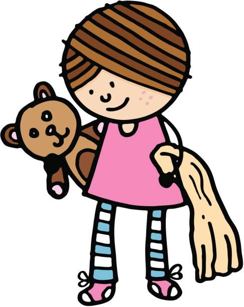 Kleines Mädchen mit Decke mit Teddybär – Vektorgrafik