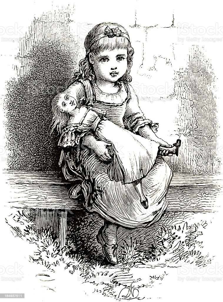 Little Girl with Doll - Victorian Steel Engraving vector art illustration