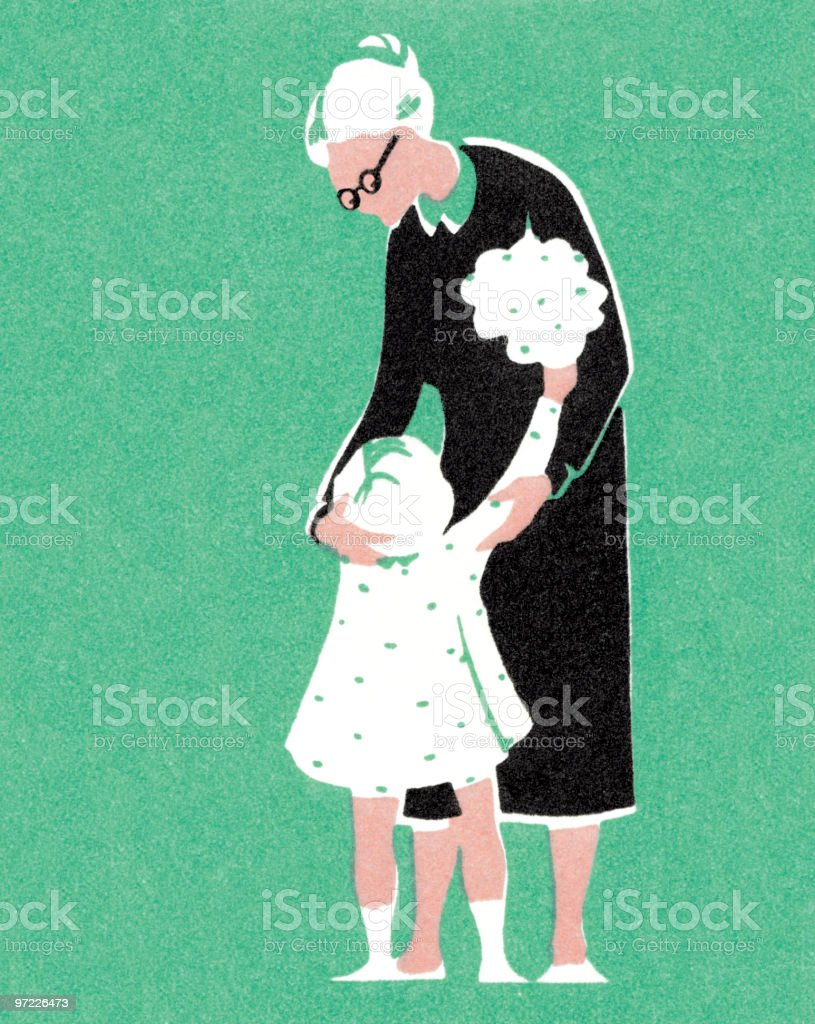 Little girl with Grandma royalty-free stock vector art
