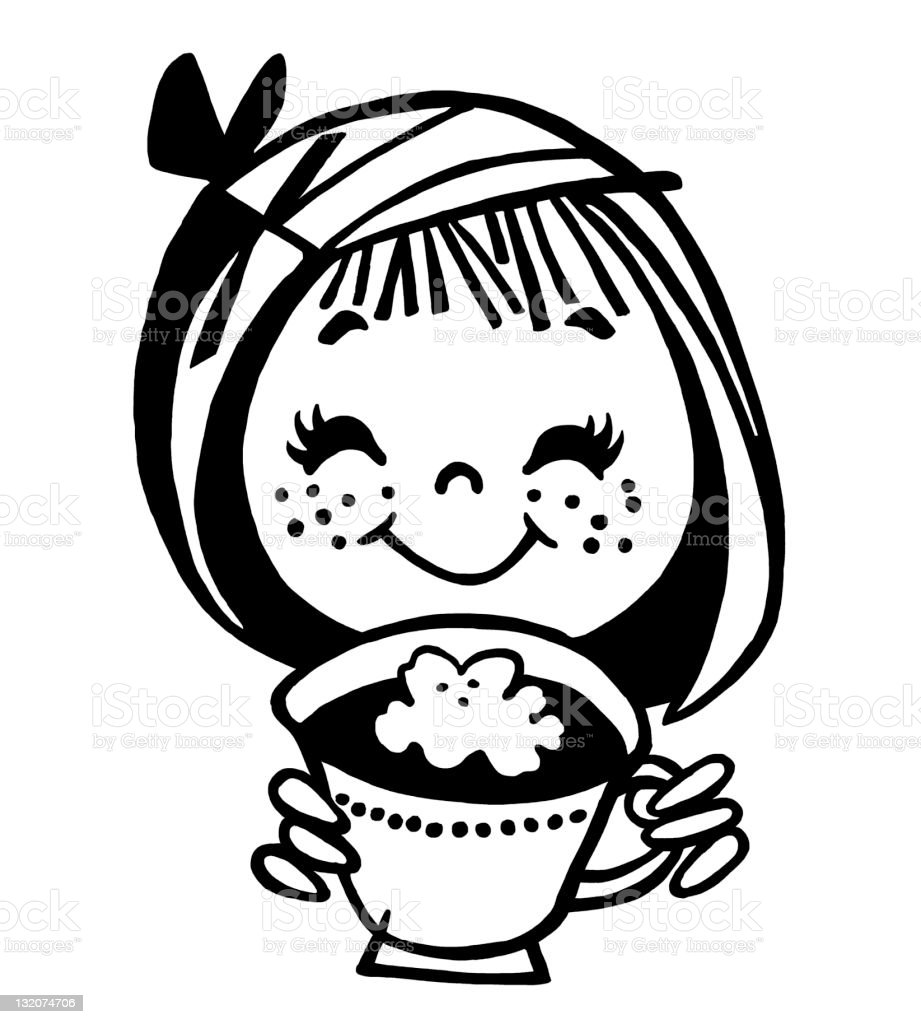Little Girl With Hot Chocolate royalty-free stock vector art