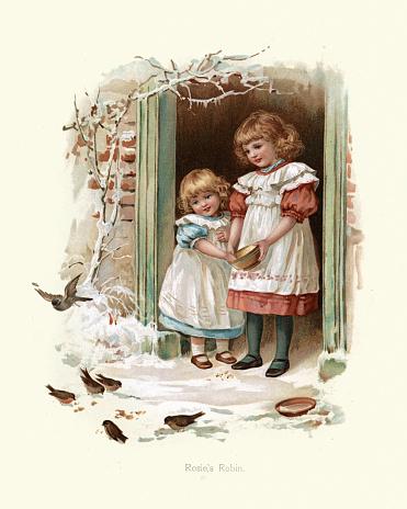 Vintage engraving of Little girls feeding the birds in winter, Rosie's Robin, Victorian, 19th Century