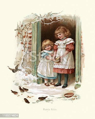 Vintage engraving of Little girls feeding the birds in winter, Rosie's Robin, Victorian, 19th Century