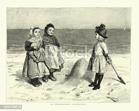 istock Little girls from different countries playing on the beach, Victorian 1880s 1300206578
