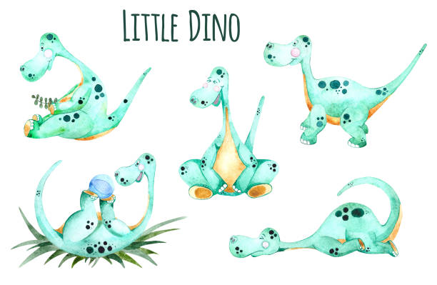 Little green dinosaur vector art illustration