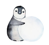 Little happy penguin character rolling a big round snowball. Wintertime tradition to built snowmen.