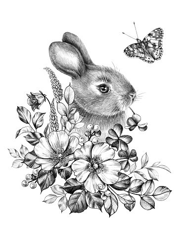 Little hare with wildflowers and flying butterfly