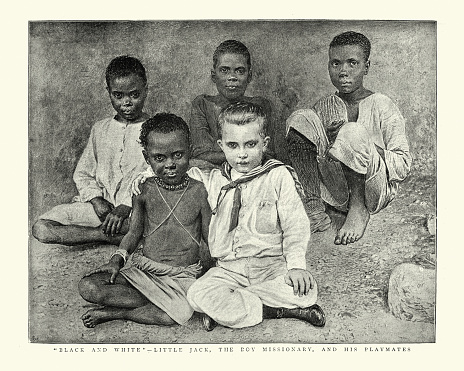 Vintage engraving of Little Jack the boy missionary and his playmates, The Graphic, 1890